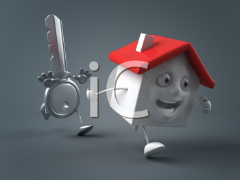 Royalty Free Clipart Image of a House and a Key Running
