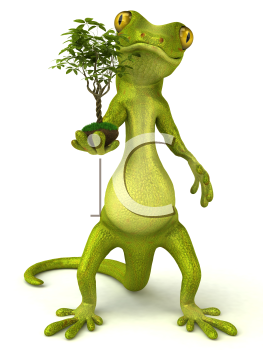 Royalty Free 3d Clipart Image of a Gecko Holding a Plant
