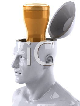 Royalty Free 3d Clipart Image of a Male Thinking About a Glass of Beer