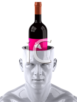 Royalty Free 3d Clipart Image of a Male Thinking About a Bottle of Wine