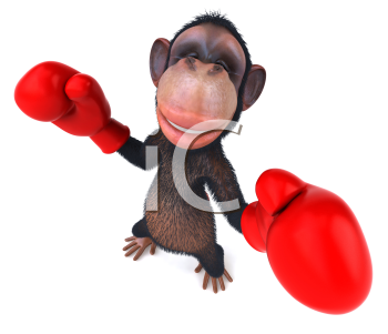 Royalty Free Clipart Image of a Monkey With Boxing Gloves
