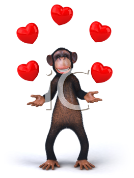 Royalty Free 3d Clipart Image of a Monkey Juggling Hearts