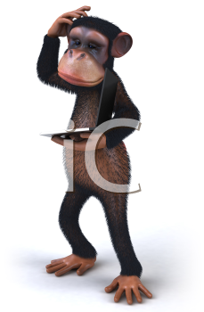 Royalty Free 3d Clipart Image of a Monkey Holding a Laptop Computer