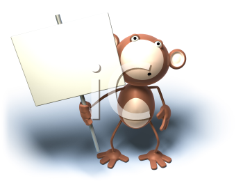 Royalty Free 3d Clipart Image of a Monkey Holding a Sign
