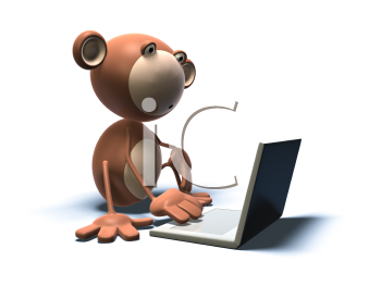 Royalty Free 3d Clipart Image of a Monkey With a Laptop Computer