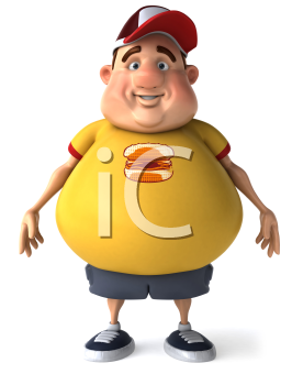 Royalty Free Clipart Image of a Man With a Beer Belly