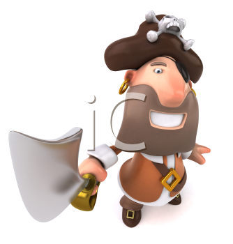 Royalty Free Clipart Image of a Pirate Brandishing a Sword