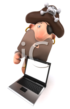 Royalty Free Clipart Image of a Pirate With Laptop