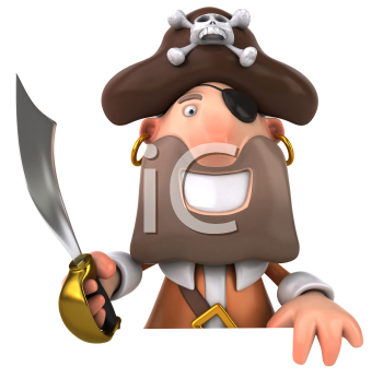 Royalty Free Clipart Image of a Pirate With a Sword