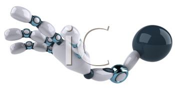 Royalty Free Clipart Image of a Robot Arm and Hand