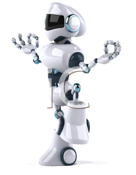 Royalty Free Clipart Image of a Robot Doing Yoga