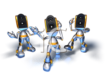 Royalty Free 3d Clipart Image of Stereo Head Robots