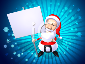 Royalty Free 3d Clipart Image of Santa Holding a Sign