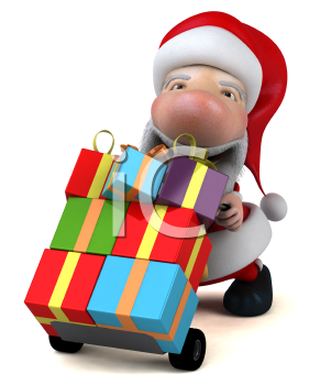 Royalty Free 3d Clipart Image of Santa Pushing a Dolly Cart Full of Gifts