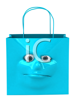 Royalty Free 3d Clipart Image of a Shopping Bag with a Face on It