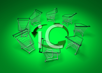 Royalty Free 3d Clipart Image of Shopping Carts With Arrows on a Green Background