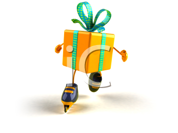 Royalty Free 3d Clipart Image of a Shiny Gift on Rollerblades