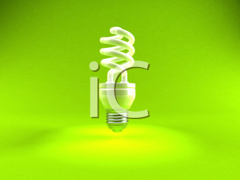 Royalty Free 3d Clipart Image of a Green Light Bulb