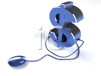 Royalty Free 3d Clipart Image of a Dollar Sign Attached to a Computer Mouse