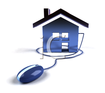 Royalty Free 3d Clipart Image of a House Attached to a Computer Mouse