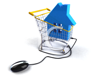 Royalty Free 3d Clipart Image of a House in a Shopping Cart Attached to a Computer Mouse