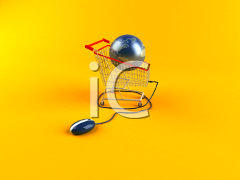 Royalty Free 3d Clipart Image of a Globe in a Shopping Cart Attached to a Computer Mouse