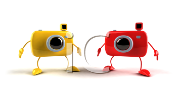 Royalty Free 3d Clipart Image of Cameras
