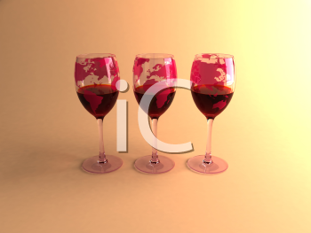 Royalty Free 3d Clipart Image of Three Glasses of Red Wine