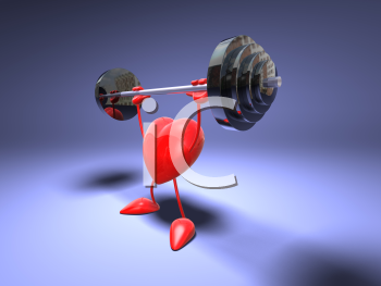 Royalty Free 3d Clipart Image of a Heart Lifting a Barbell