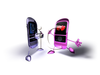 Royalty Free 3d Clipart Image of a Cell Phone Taking a Picture of Another Cell Phone