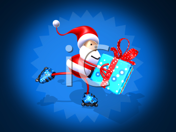 Royalty Free 3d Clipart Image of Santa Holding a Gift and Rollerblading