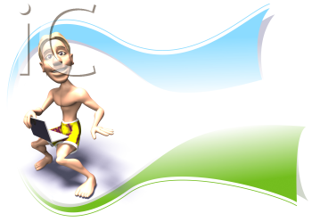 Royalty Free 3d Clipart Image of a Surfer With a Laptop Computer