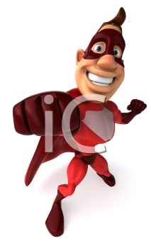 Royalty Free Clipart Image of a Superhero Punching