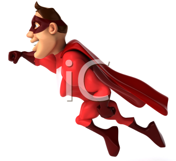 Royalty Free Clipart Image of a Flying Superhero