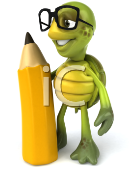 Royalty Free Clipart Image of a Turtle Wearing Glasses and Holding a Large Pencil