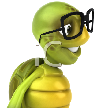 Royalty Free 3d Clipart Image of a Turtle Wearing Black Rimmed Glasses
