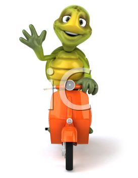 Royalty Free Clipart Image of a Turtle on a Scooter Waving