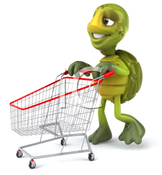 Royalty Free 3d Clipart Image of a Turtle Pushing a Shopping Cart