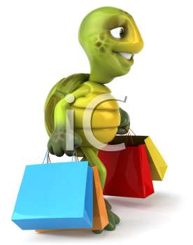 Royalty Free 3d Clipart Image of a Turtle Carrying Shopping Bags