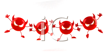 Royalty Free 3d Clipart Image of a Red Devil Emoticon