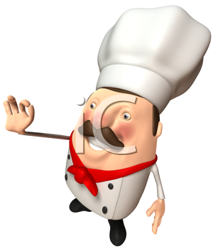 Royalty Free Clipart Image of a Chef Gesturing