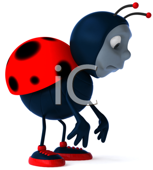 Royalty Free Clipart Image of a Sad Ladybug