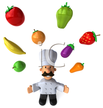 Royalty Free Clipart Image of a Chef Juggling Fruits and Vegetables