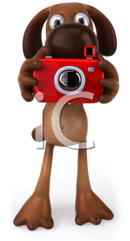 Royalty Free Clipart Image of a Dog With a Camera