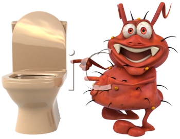 Royalty Free Clipart Image of a Germ Beside a Toilet