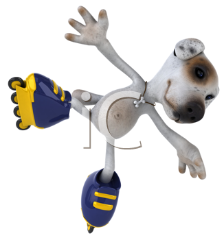Royalty Free Clipart Image of a Roller Blading Jack Russell