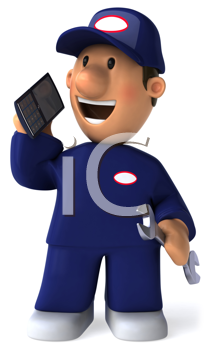 Royalty Free Clipart Image of a Mechanic on a Cellphone