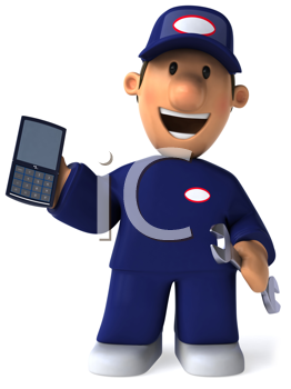 Royalty Free Clipart Image of a Mechanic With a Cellphone