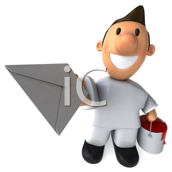 Royalty Free Clipart Image of a Painter With a Letter
