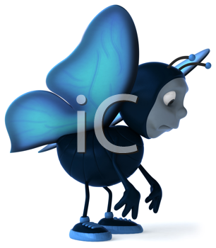 Royalty Free Clipart Image of a Sad Butterfly